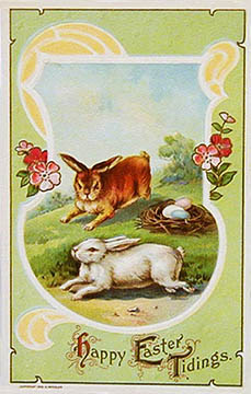 Antique vintage Easter Post Card postcard with bunnies