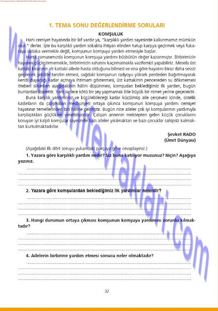 7. Sınıf Ezde Yayınları Türkçe Çalışma Kitabı Cevapları Sayfa 32