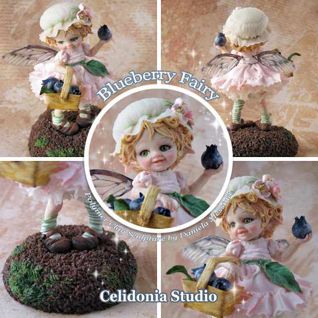 Blueberry fairy -Fatina dei Mirtilli - ooak art doll by Celidonia