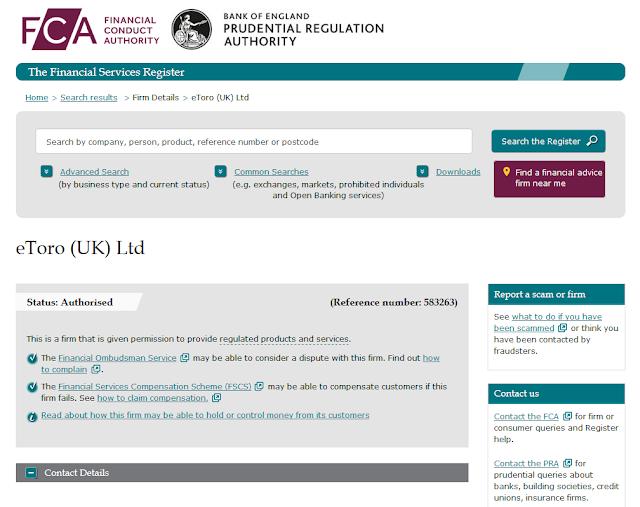 Скриншот с официального сайта FCA (Великобритания)
