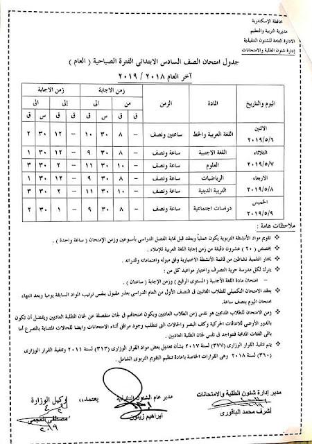 """رسمي ومختوم من الوزير """"جداول امتحانات نهاية العام 2019"""" الترم الثاني لمحافظات مصر 4 6/4/2019 - 5:34 م"""
