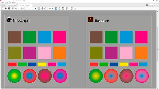 Comparativa de PDFs-CMYK generados con Inkscape y con Adobe