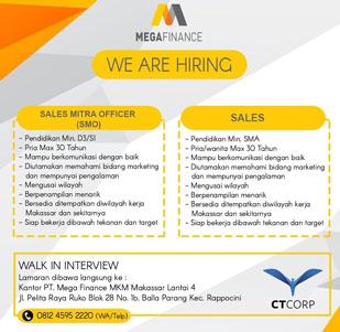 Lowongan Kerja PT Mega Finance MKM Makassar