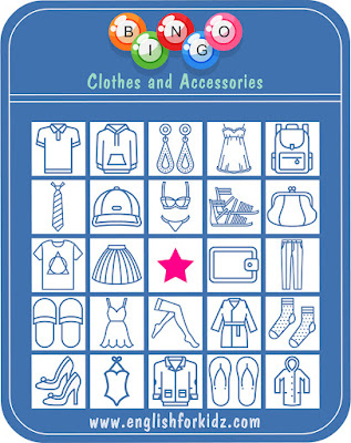 Clothes and accessories bingo game