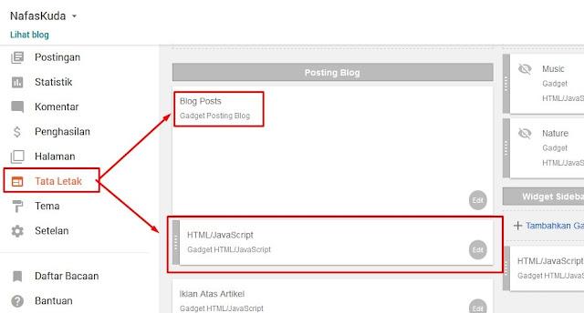 Memasukan kode ditata letak blogger