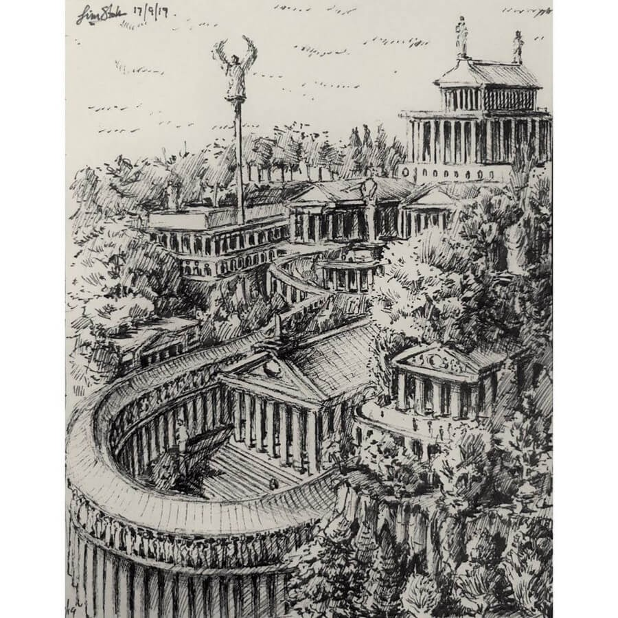09-Roman-Greek-temple-Tim-Stokes-Fantasy-and-Real-Life-Architecture-Drawings-www-designstack-co