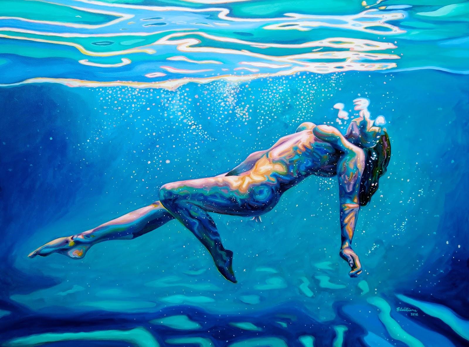 art blue canvas deep in nude water