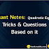 Important Concepts of Quadratic Equations For RRB Stage - II