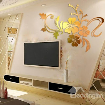 Modern Beautiful Mirror Flowers Shape Wall Stickers -Price :USD $ 21.59 (75% off)