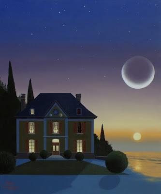 maison inventée, rêve, nuit, jour, lune, dissolution, Fernand Khnopff, impermanence, samsara
