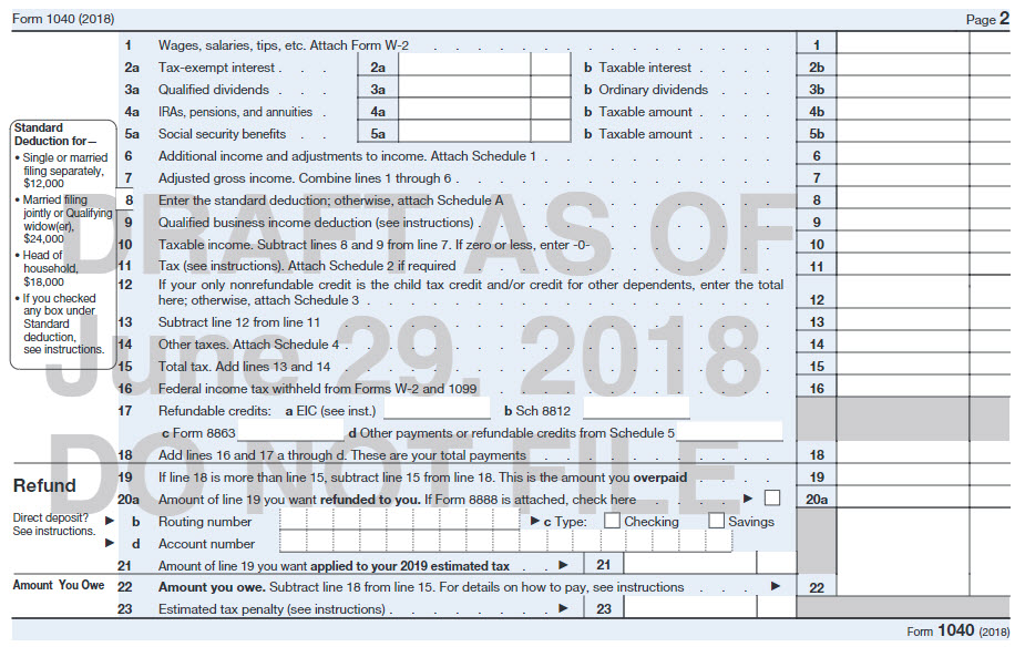 21st Century Taxation Postcard Size Form 1040 For 2018 What