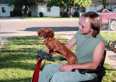 Young Dachshund named Dixie riding wit Jimmy on an Amigo scooter