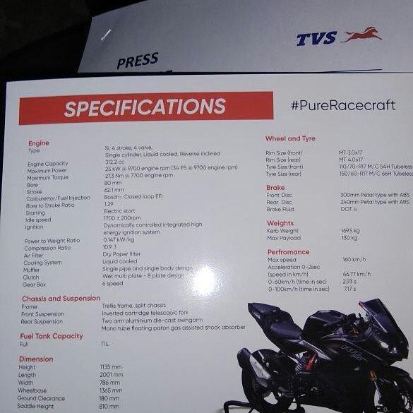 Spesifikasi TVS Apache RR 310S