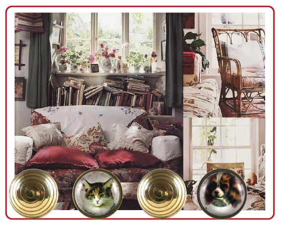 boutons de meuble doré, bouton de meuble chat, bouton de meuble chien