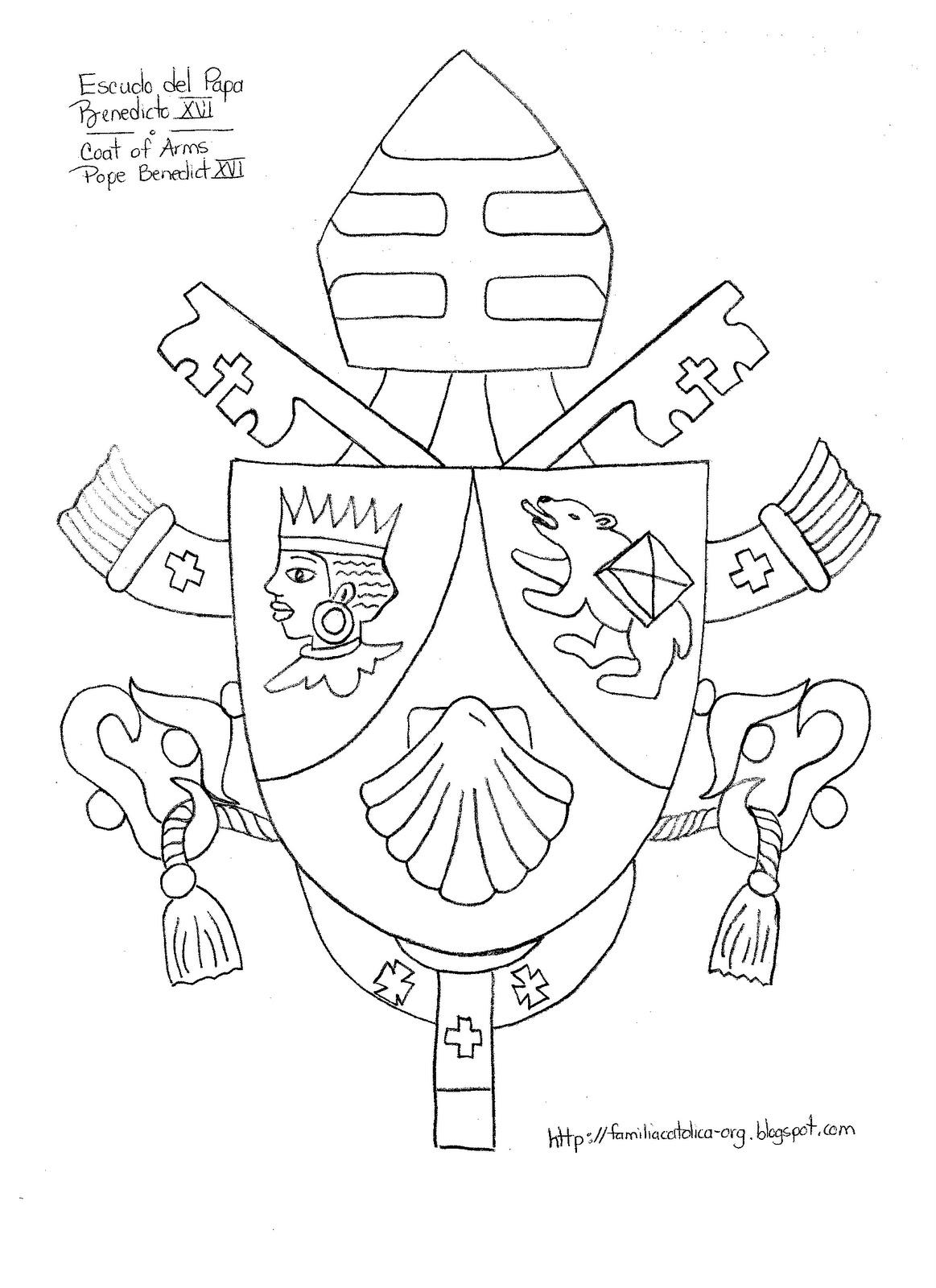 Familia Católica: Escudo del Papa Benedicto XVI para colorear