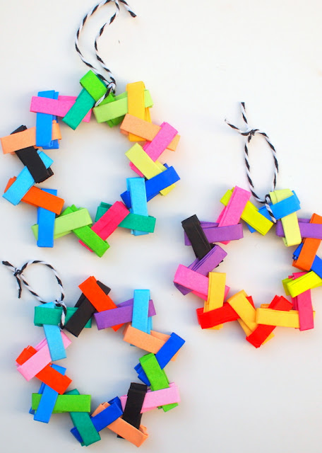 how to make modern, colorful origami ornaments for Christmas with the kids- easy gum wrapper chain design