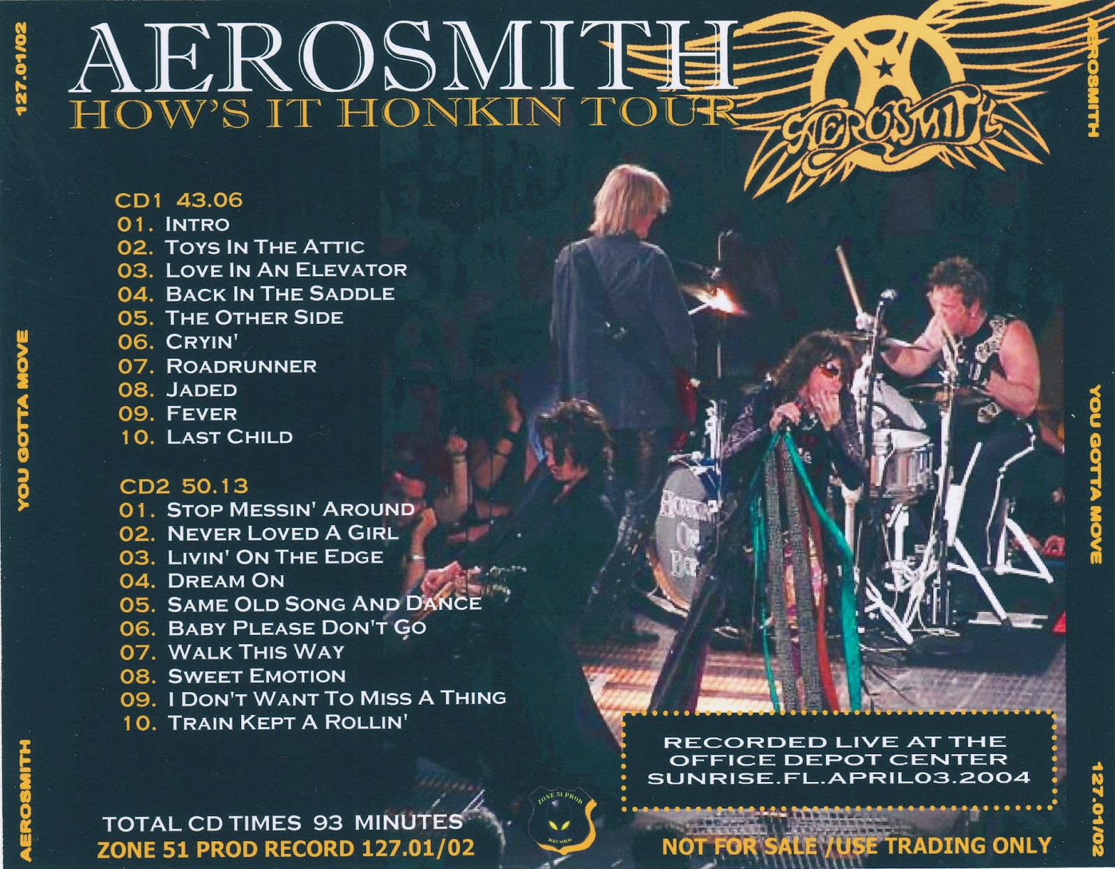 Aerosmith Bootlegs Cover Arts You Gotta Move Sunrise 2004