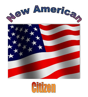 American flag, the stars and stripes surrounded by the words, new american citizen.