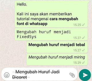membuat tulisan menjadi tercoret di whatsapp