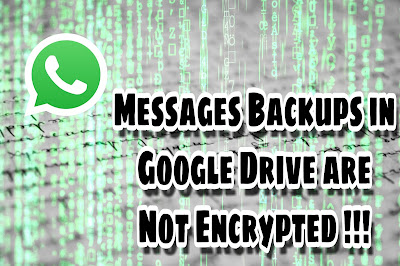 Whatsapp Messages Backups in Google Drive are Not Encrypted