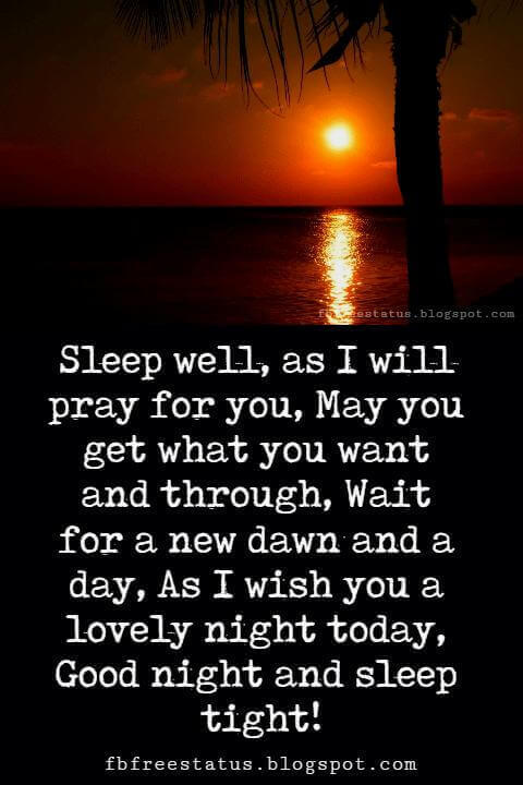 cute good night quotes, Sleep well, as I will pray for you, May you get what you want and through, Wait for a new dawn and a day, As I wish you a lovely night today, Good night and sleep tight!