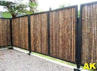 Jasa Pembuatan Pagar Besi Kombinasi Bambu Murah Bagus Berkualitas