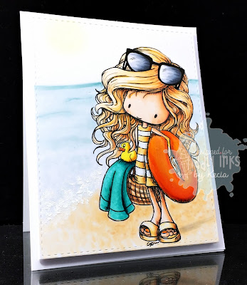 Tiddly Inks, Kecia Waters, Copic markers, beach, swimming, summer