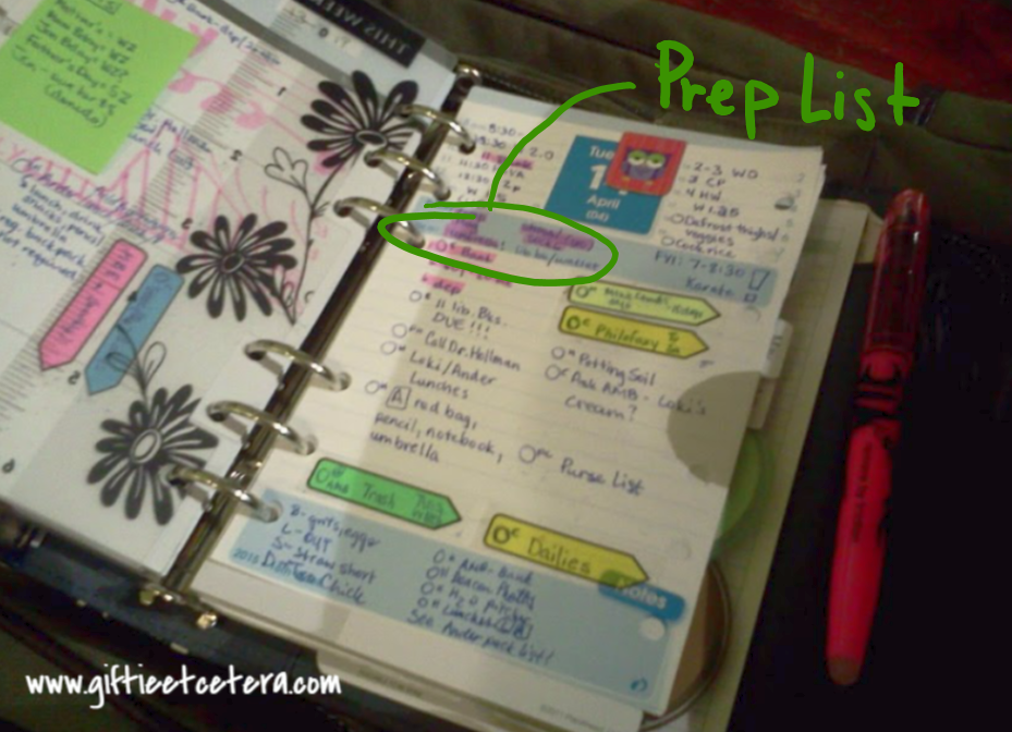 planner, errands, prep list