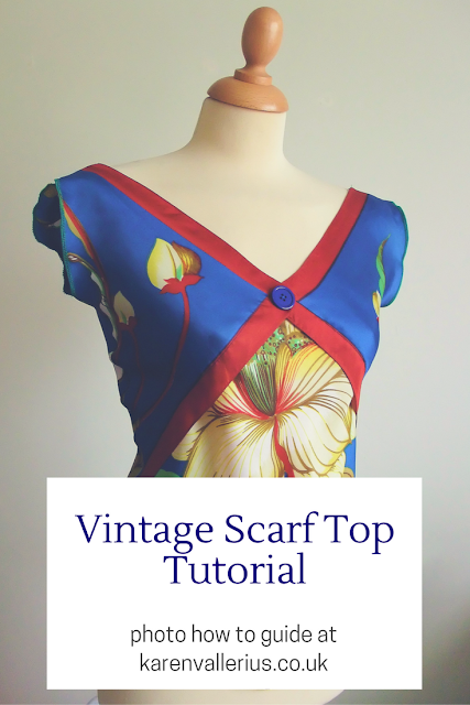 vintage scarf bias top tutorial by karen vallerius