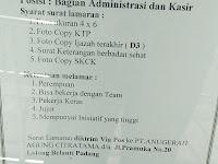 Lowongan Kerja Padang : Pegawai Administrasi dan Kasir
