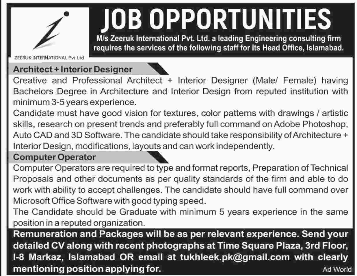 Jobs In Zeeruk International Islamabad 30 July 2017