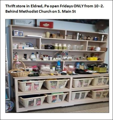 Eldred thrift Store Open On Fridays From 10-2