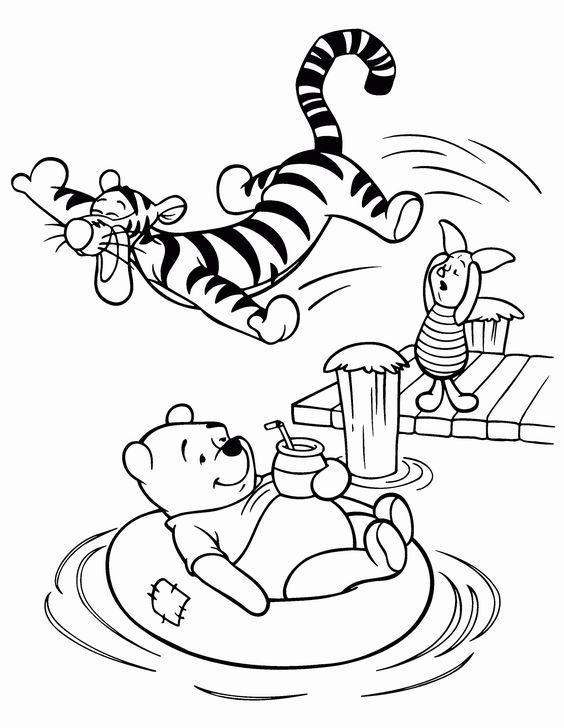 Tranh cho bé tô màu gấu Pooh 02