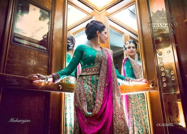 0c24768e00 Osman Ghani Set Up by Bridle Special Party Wear Sari Collection - Green &  Shocking Pink Color Beautifully Embroidered Party Wear Outfit by Osman Ghani