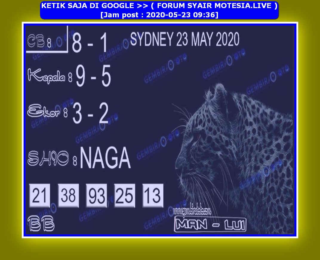 Kode syair Sydney Sabtu 23 Mei 2020 153