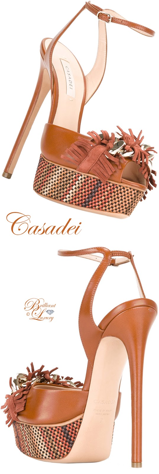 Brilliant Luxury ♦ Casadei Fringed Strap Platform Sandals