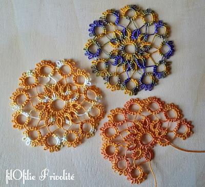 Tests de fils de coton teint à froid : motif traditionnel de la roue, frivolité (dentelle aux navettes)