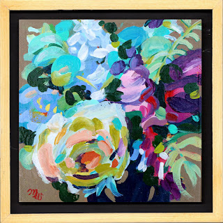 Flower painting by artist Merrill Weber framed original acrylic on canvas 6 x 6  Celebration 107