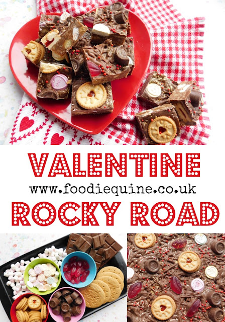 www.foodiequine.co.uk A quick, easy and fun Valentine Themed traybake that's ideal for kids to help make. The classic Rocky Road takes on a romantic twist with the addition of Love Hearts, Rolos, Lips and Jammie Dodgers. This no bake Chocolate Tiffin is sure to be loved by anyone with a sweet tooth.