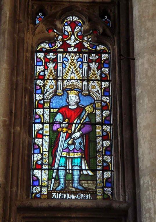 Alfredo o Grande, vitral da catedral de Winchester.