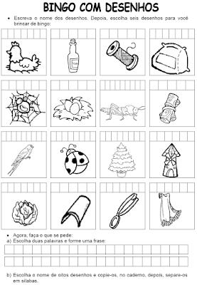 Bingo com desenhos LH