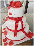 wedding cake rose rosse e swarovski
