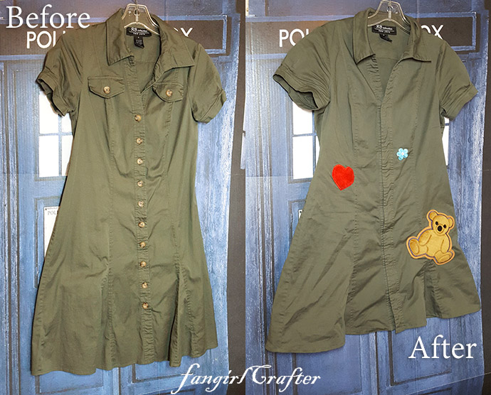 Before and after green Kaylee Frye inspired dress