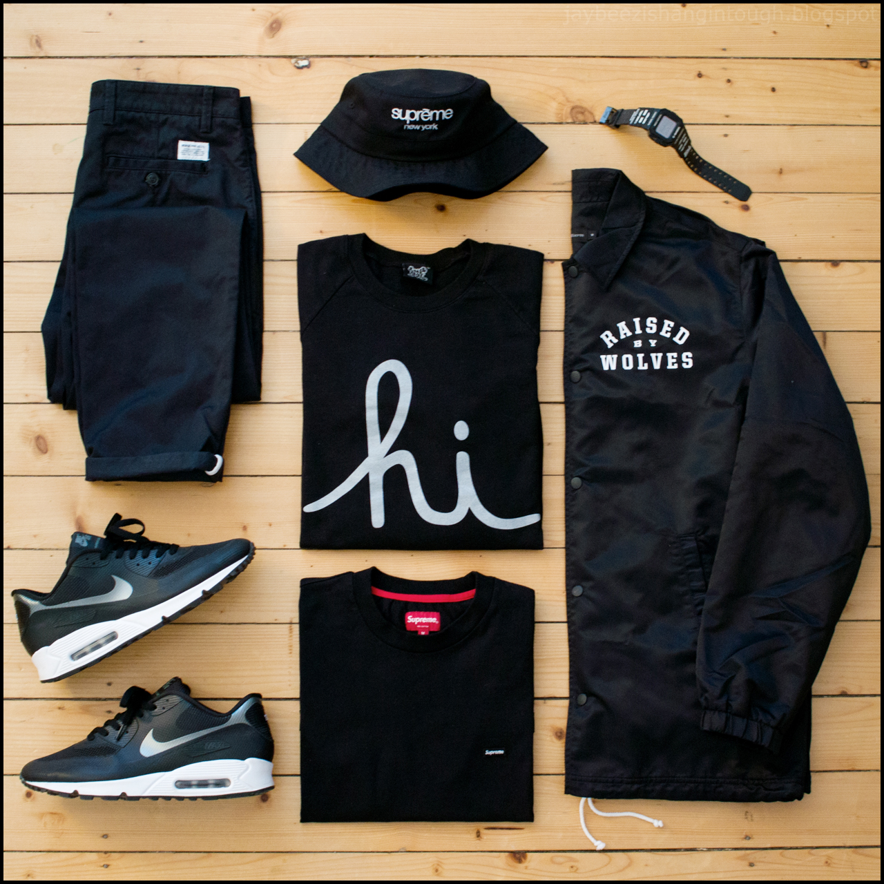 d9f3ca0aa52 ... crewneck. supreme small logo tee. norse projects aros heavy chino.  supreme classic logo crusher. nike iD air max 90 hyperfuse. alife x casio  g-shock.