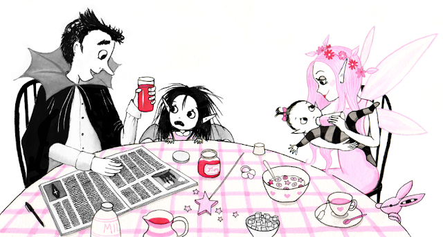 An early sketch of Isadora Moon and family