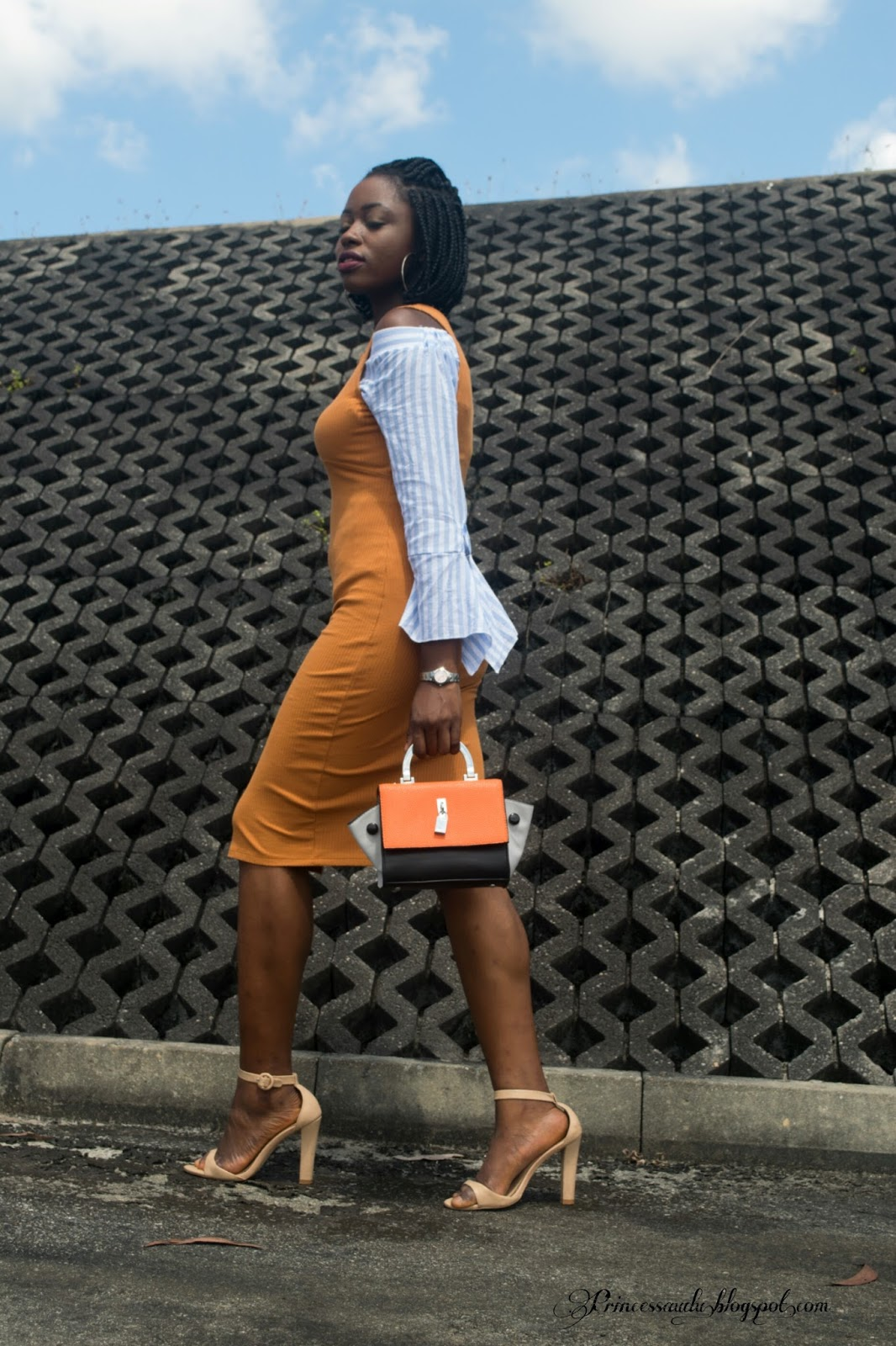 Off shoulder trend,  pencil mustard dress,  a full,  Zara,  chunky heels