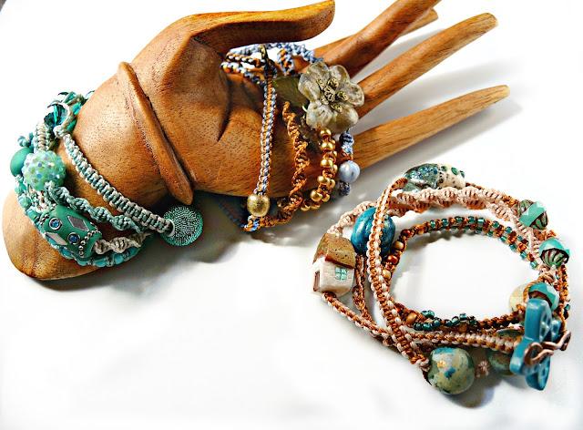 Micro macrame wrap bracelets by Sherri Stokey.