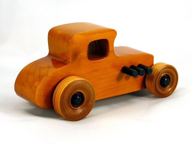Right Rear - Wooden Toy Car - Hot Rod Freaky Ford - 27 T Coupe - Pine - Amber Shellac - Black Hubs