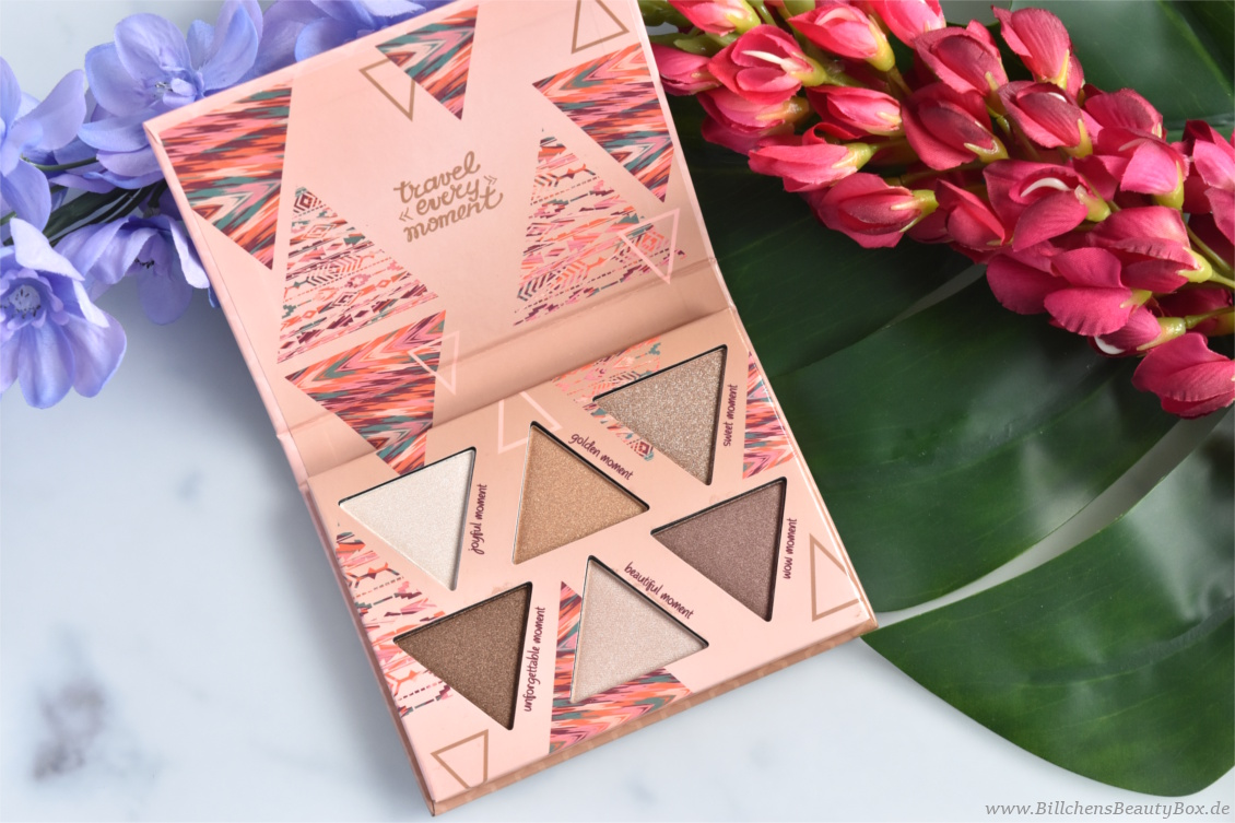 Review und Swatches - essence adventure awaits - get sunkissed Trend Edition - bronzing eyeshadow palette 'collect moments not things'