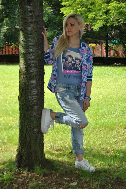 outfit bomber stampa tropicale come abbinare la stampa tropicale abbinamenti stampa tropicale how to wear tropical print tropical print outfit mariafelicia magno fashion blogger color block by felym outfit giugno 2016 outfit sporty